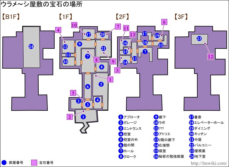 ウラメ~シ屋敷 宝石マップ