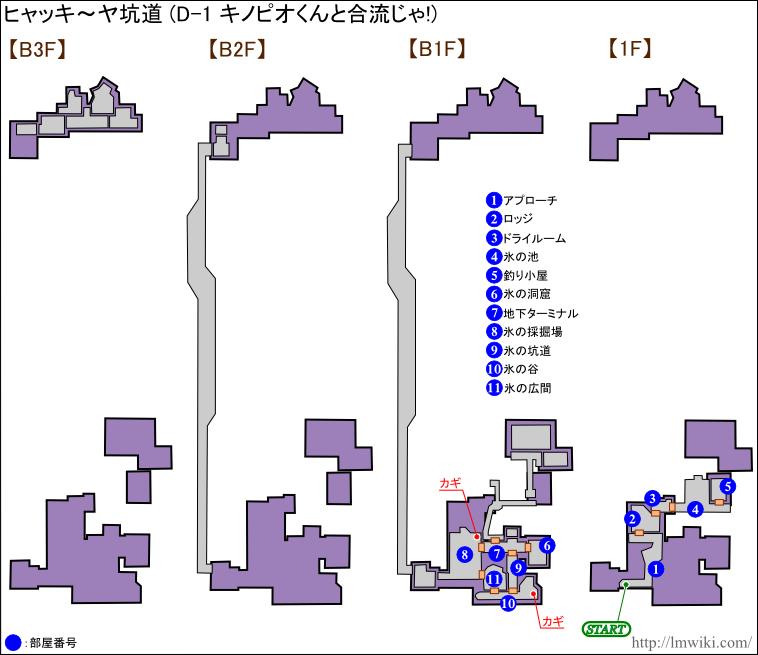 ヒャッキーヤ坑道「D-1 キノピオくんと合流じゃ!」マップ