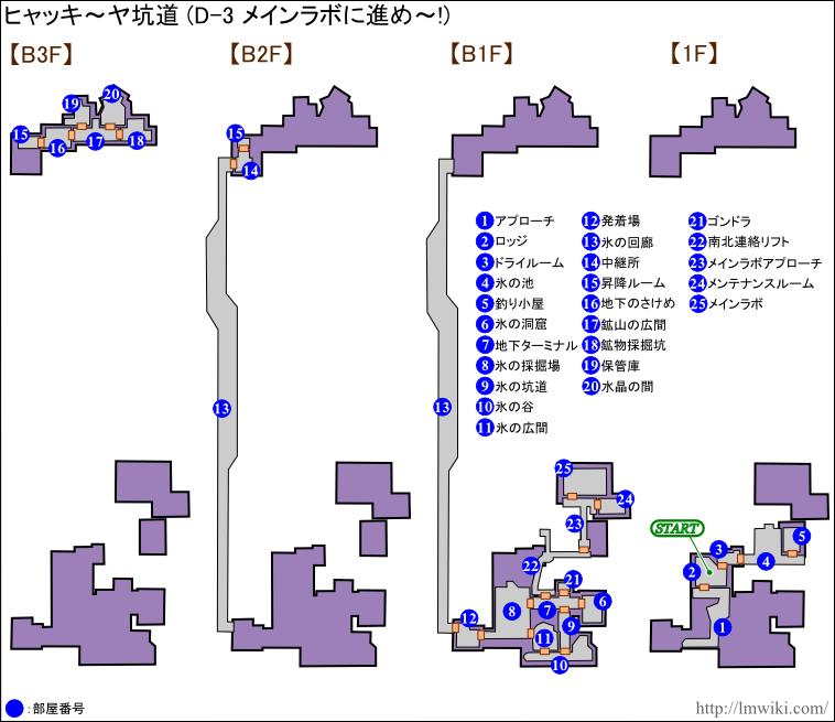 ヒャッキーヤ坑道「D-3 メインラボに進め~!」マップ